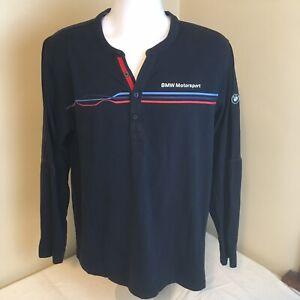 BMW-Motorsport-Mens-Long-Sleeve-Henley-Style-Shirt-XL-Dark-Blue-Free-Shipping
