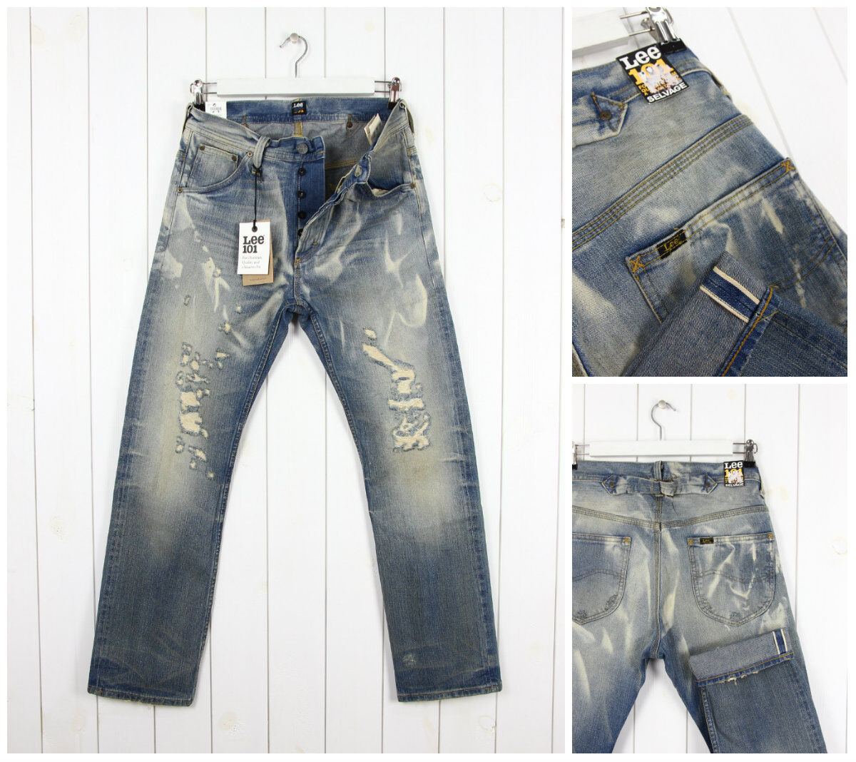 NEU Lee 101B Cowboy Jeans Distressed Dirty gerades Bein W29 W30 W31 L32