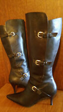 Womens SUDINI 9.5N Tall Knee High Heel Buckle Strap SOFT Leather Cushioned Boots