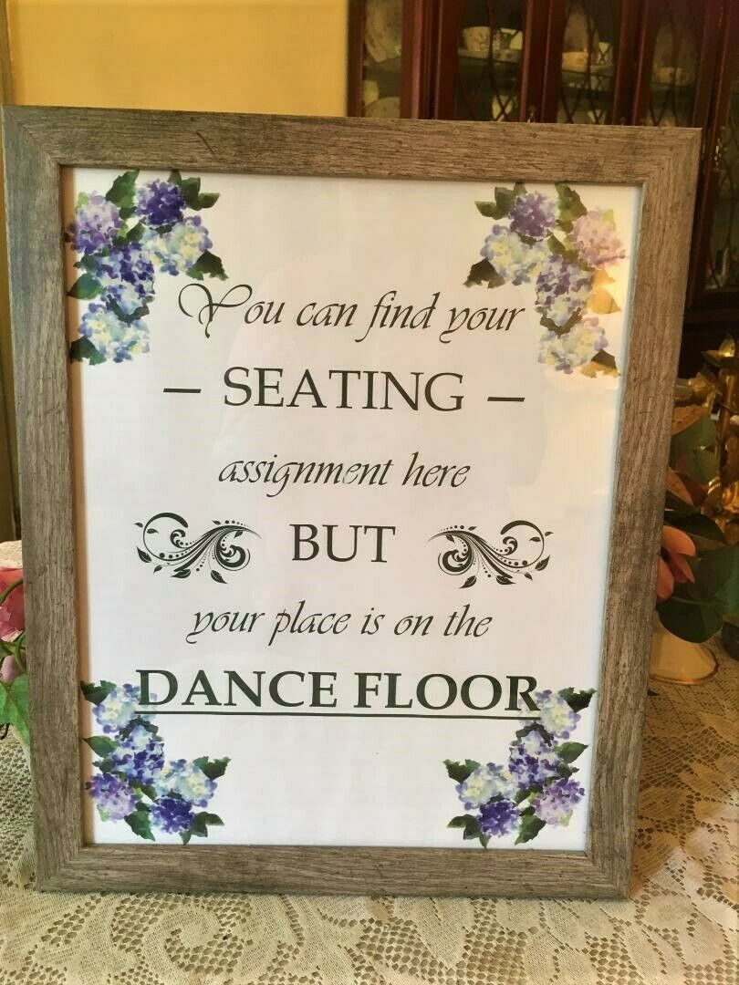 A NWT Wedding Sign Seating Assignment Dance Floor Wood Glass Frame Party Decor