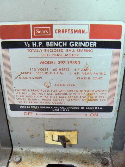 Strange Vintage Craftsman 6 1 3 Hp Bench Grinder Model 397 19390 Works Great Ocoug Best Dining Table And Chair Ideas Images Ocougorg