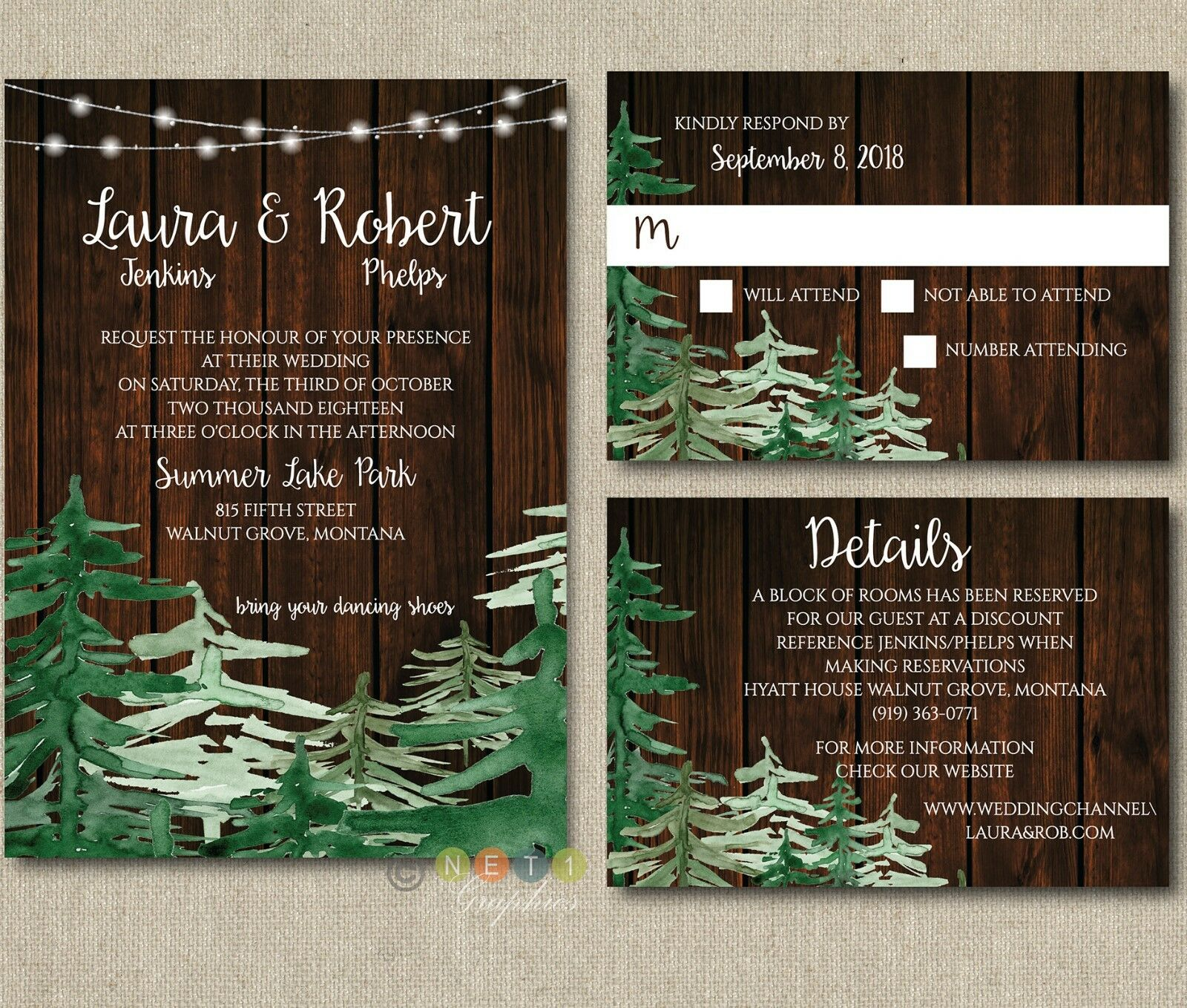 100 Personalized Wedding Invitations Rustic Pine Tree Holiday with Envelopes