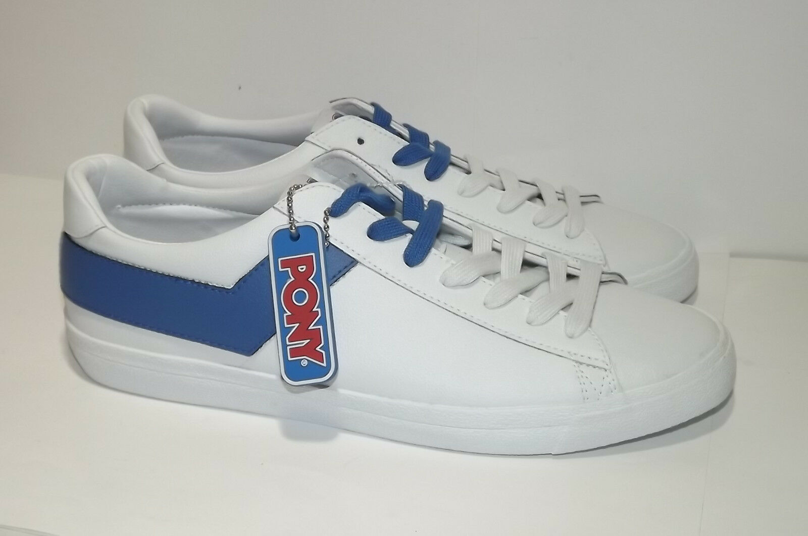 MEN'S PONY TOP STAR WHITE BLUE LEATHER CASUAL SHOES SIZE 10.5 NEW