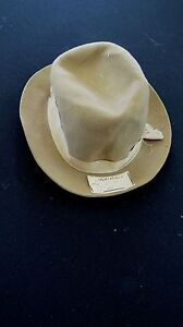 RARE 1930'S DEADSTOCK TAN BROWN FRENCH FEDORA FELT HAT ORIG TAGS SZ 6 3/8