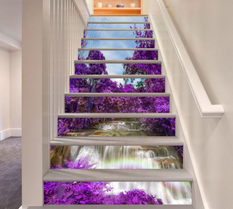 3D Waterfall violet Stair Risers Decoration Photo Mural Vinyl Decal Wallpaper CA