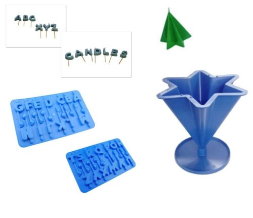 Set x 3 S7594 A-Z Alphabet Trays Birthday Letters /& 6 Point Star Candle Mould