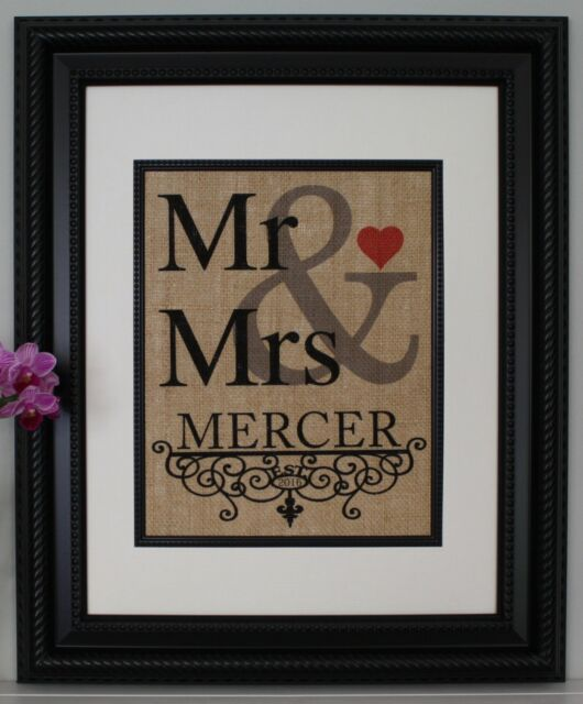 Personalized Burlap Print / Sign - Mr & Mrs Burlap Wall Art