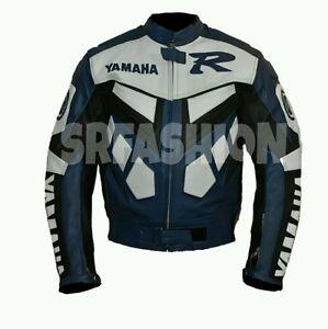 Yamaha r1 blue white genuine cow hide motorbike leather for Yamaha r1 motorcycle jackets