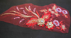 de-luxe-grand-piece-rouge-amp-OR-SEQUINS-PERLES-DENTELLE-FLORALE-Applique-dentelle