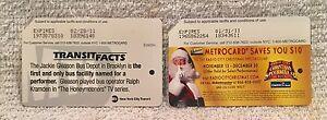 Set of 2 NYC MetroCards MTA Radio City Christmas Jackie Gleason Honeymooners