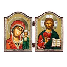 1449 GM von Kazan & Jesus Christus Ikone Diptychon Казанская и Спаситель