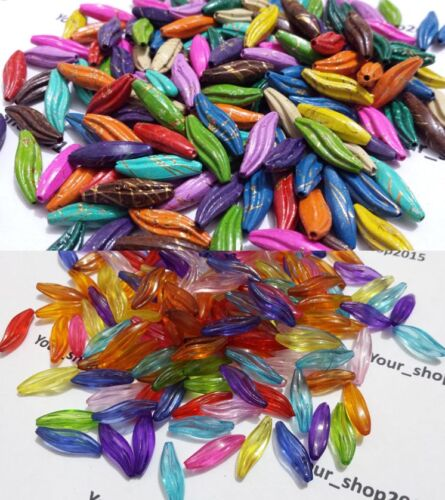60 Acrylic Twisted faceted Tube Beads mixed colour 20x6mm Jewellery making