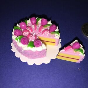 DOLLHOUSE-Mini-Food-DECORATED-PURPLE-ROSE-ICED-CAKE-8-x-SLICES-BARBIE-PARTY