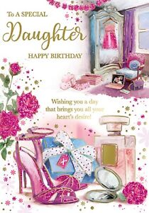 To A Special Daughter Happy Birthday. Cute Card Design with Shoe, Perfume bottle