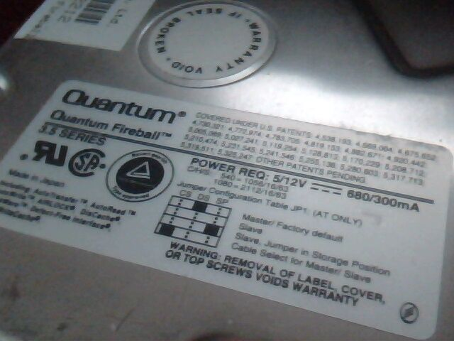 Hard Disk Drive Quantum Fireball FB10S011 HDD Rev 02-E 1080S S1Q04