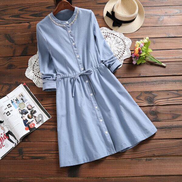 Elegante vestito abito maxi amplio azzurro blue cintura scampanato morbido 4986