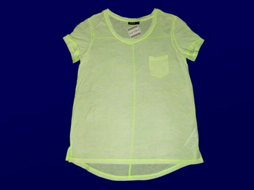 Moderne Femmes shirt t-shirt col v vert fluo transparent 36 /& 38 viscose