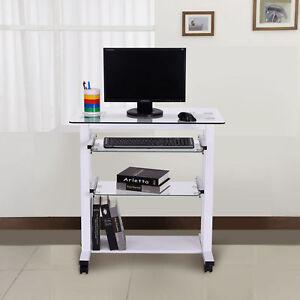 Homcom Computer Workstation Laptop Pc Desk Gl Table Stand W Wheels