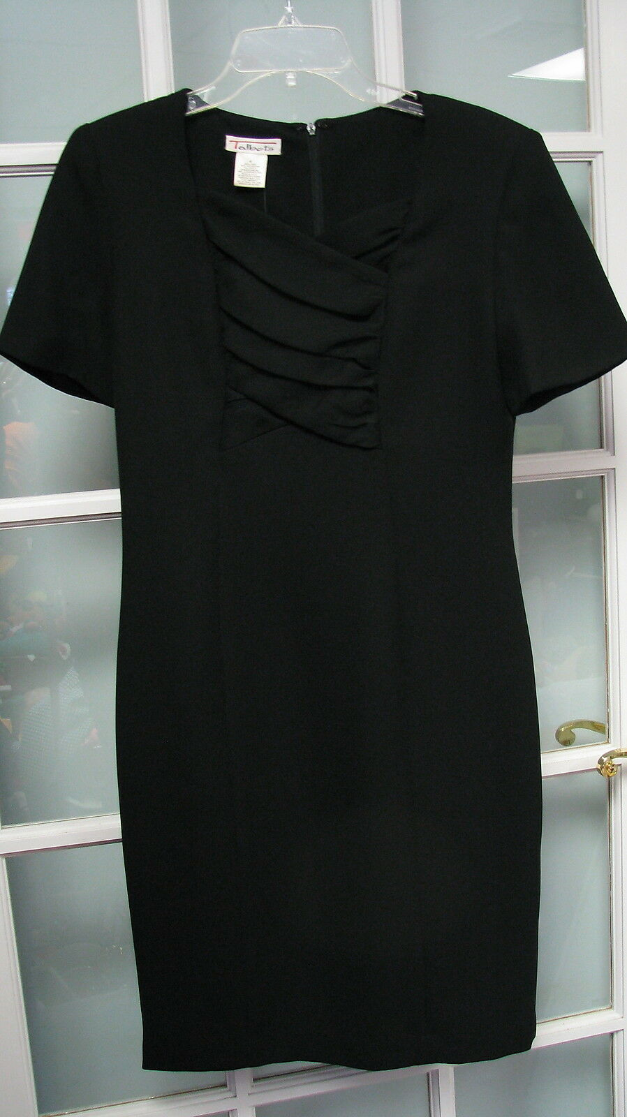 Talbots Größe 4 schwarz dress ladies damen short sleeve dinner church pleated EUC