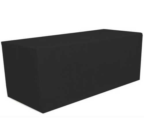 Fitted Polyester Tablecloth Table Cover Wedding Banquet Party Black 6/' ft