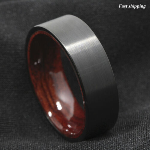 8mm Black Brushed Tungsten Red Sandal Wood Inlay Wedding Band Ring Men/'s Jewelry