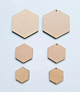 Bois-Hexagone-Formes-Laser-Coupe-MDF-Taille-Options-Artisanat-20mm-pour-100mm