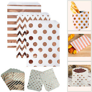 25pc-Candy-Gift-Bags-Rose-Gold-Spot-Stripe-Paper-Pouches-Party-Weddings-Birthday