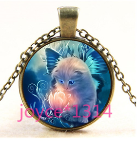 Vintage Tabby Cat With Flower Cabochon Glass Bronze Chain Pendant Necklace