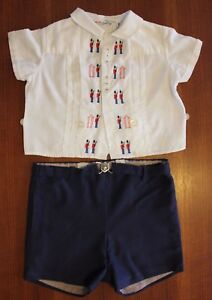 VINTAGE-1960s-Baby-Boys-Swiss-Cotton-London-Guard-Embroidery-Shirt-amp-Shorts-0-1