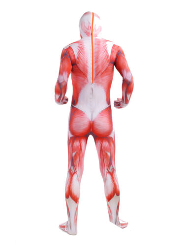 Halloween costume Skeleton Muscle Attack on Titan Lycra Spandex Zentai bodysuit
