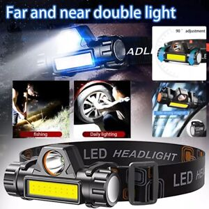 USB Rechargeable Waterproof LED Headlamp Headlight Head Light Flashlight 2 Modes