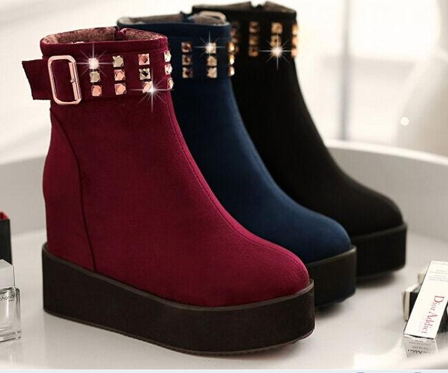 Bottines Bottes Chaussures pour Femmes Talon 5.5 cm comme Cuir Confortable Chaud