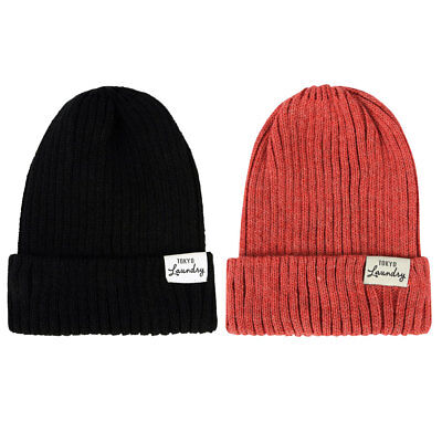 New Womens Tokyo Laundry Madeline Knitted Winter Contrast Turn Up Beanie Hat