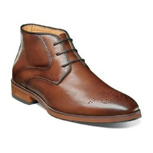 Florsheim Men's Boots Blaze Medallion Toe Chukka Cognac Leather 14202-221