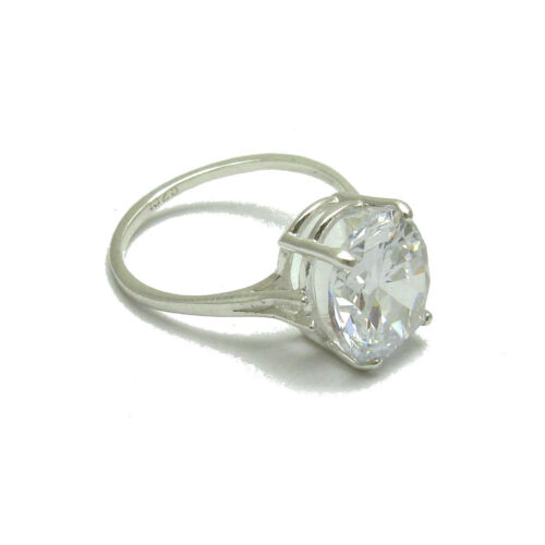 STERLING SILVER RING SOLID 925 WITH 12x10MM OVAL CUBIC ZIRCONIA EMPRESS R000399