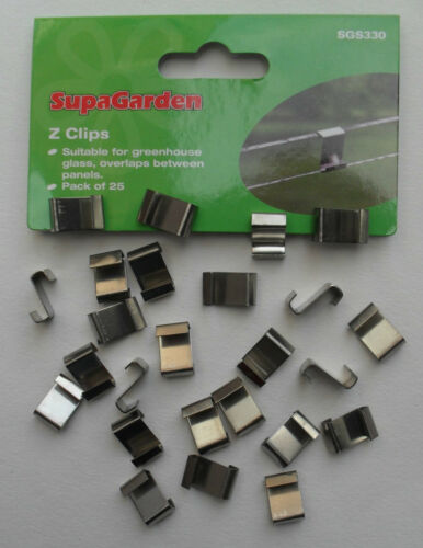 Greenhouse Glass Z Overlap Holding Glazing Metal Clips Pack 25 by Supagarden