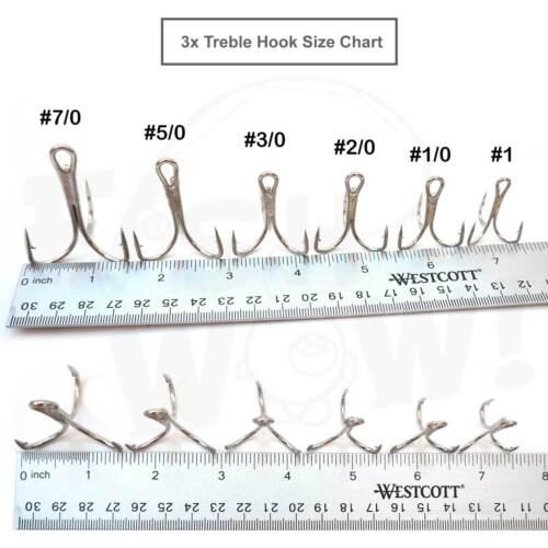 10~100pcs lot Fishing 3x Treble Hooks Nickel Size #1//0 2//0 3//0 5//0 7//0 Fish WOW!