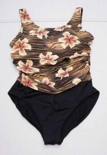 Beach Cabana Womens L Black Floral Swim Suit 1 Pie