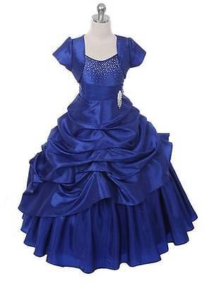 New Royal Blue Floor Length Flower Girl Princess Dress Pageant Party Wedding USA