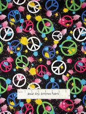 Peace Sign Cotton Fabric Paint Splat Peace Hippie Flower Child On  Black ~ Yard