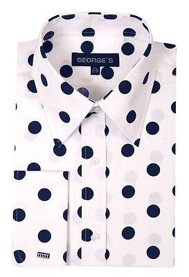 Men's 100% Cotton  Big Polka Dot Design Spread Collar Dress Shirt Style AH616