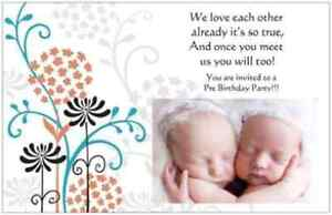 25-Twins-BABY-Shower-INVITATIONS-Lg-Post-Cards