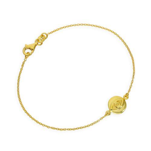 Gold Plated Sterling Silver 7 Inch Evil Eye Bracelet Cultural Eye