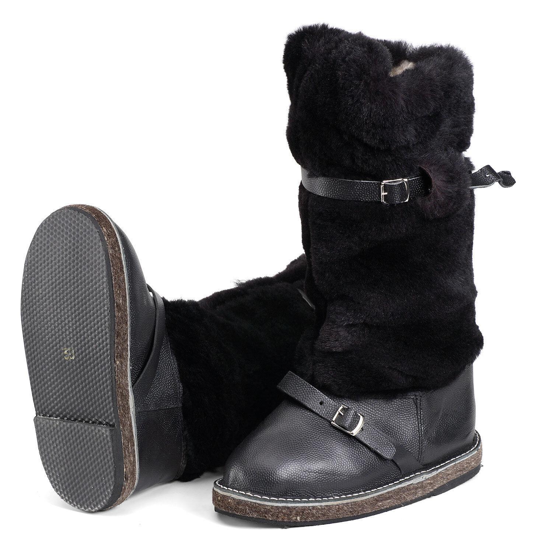 Russische High High High Fur Stiefel UNTY Pelzstiefel Schaffell Mukluks Winter Jagd Schuhe fee714