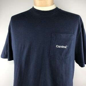 Carnival Embroidered Logo Pocket Shirt Sz XXL Blue White Short Sleeve Tee