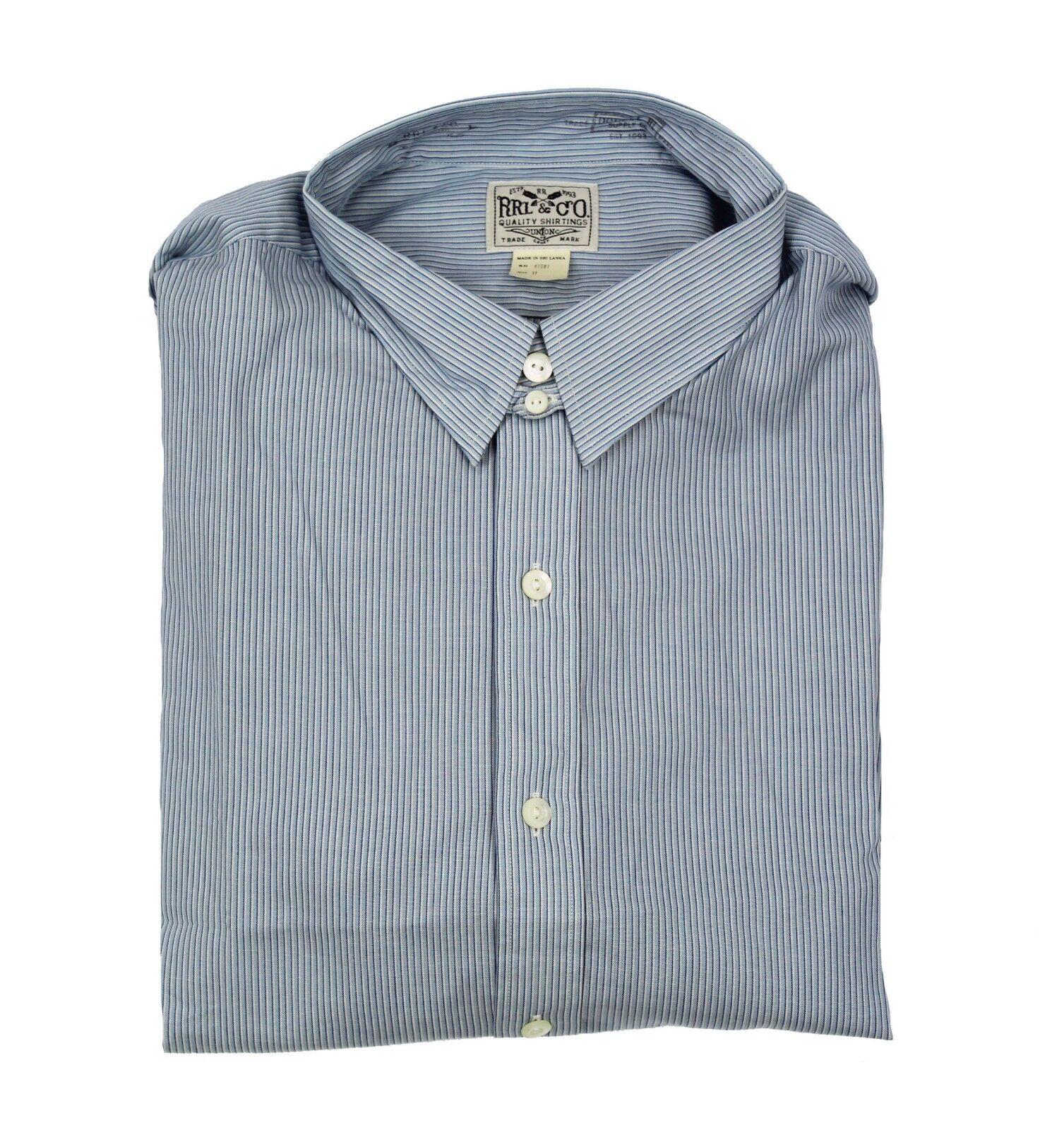 245 Double Ralph Lauren  Herren RRL Button Down Blau Striped Eli Dress Shirt NWT
