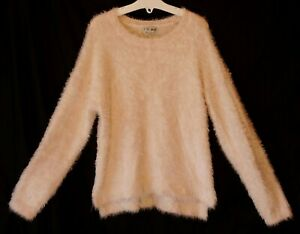 Girls-Next-Pale-Plain-Pink-Furry-Fluffy-Soft-Feel-Stretchy-Jumper-Age-8-Years