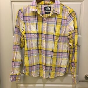The-North-Face-Womens-Yellow-Purple-Plaid-Button-Up-LS-Top-Sz-M
