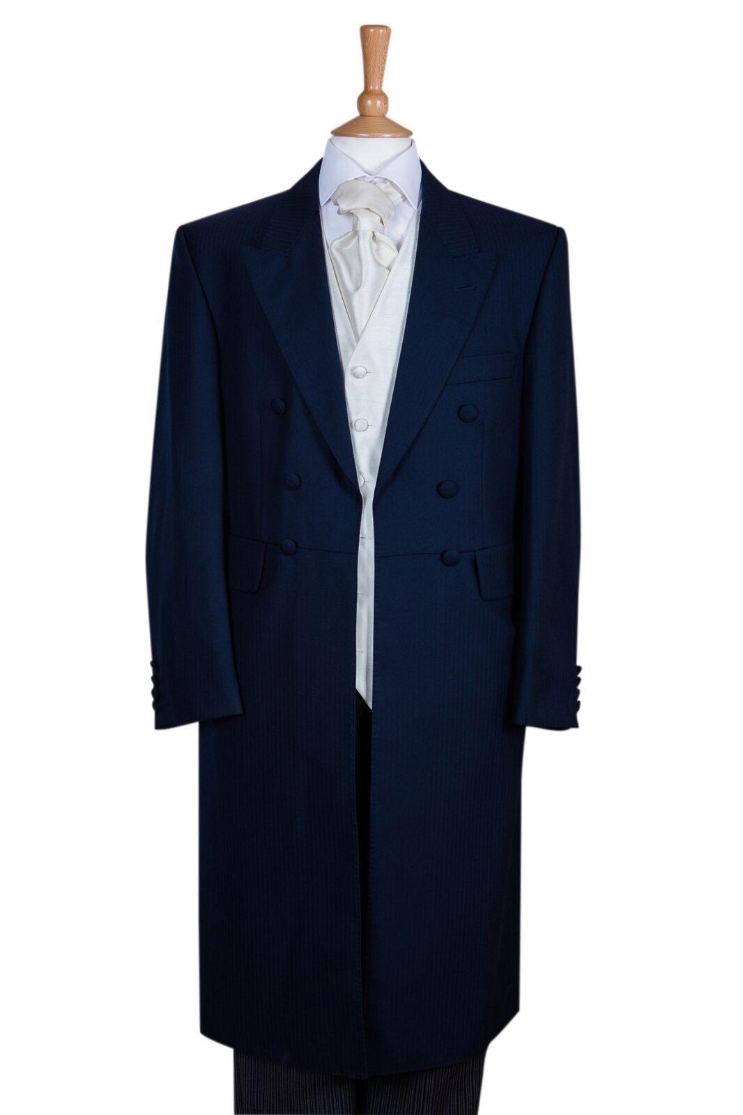 Three Piece Navy Blau Frockcoat, Waistcoat & Trousers - Ex Hire