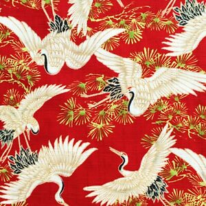 Japanese-cranes-fabric-heron-stork-birds-red-oriental-cotton-chinese